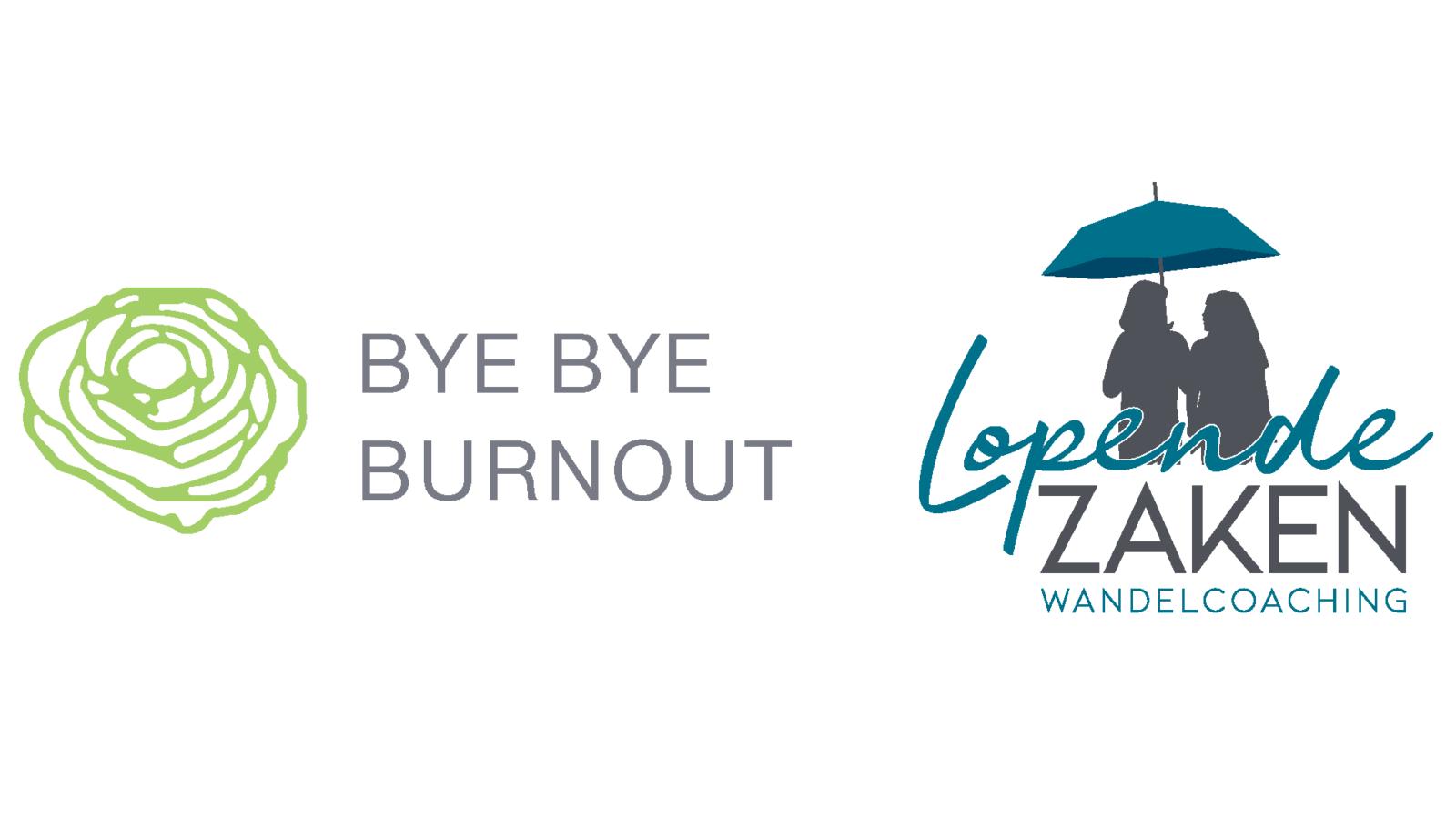 Logo's Bye Bye Burnout en Lopende Zaken wandelcoaching.